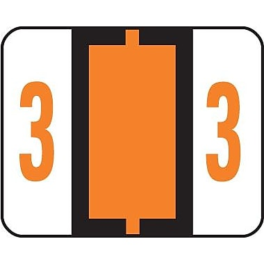 Smead® End-Tab Bar Style Numeric Color-Coded Labels, 3-Dark Orange