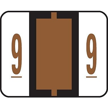 Smead® End-Tab Bar Style Numeric Color-Coded Labels, 9-Brown