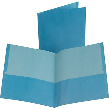 Oxford 100% Recycled 2-Pocket Folders, Blue, 10/Pack