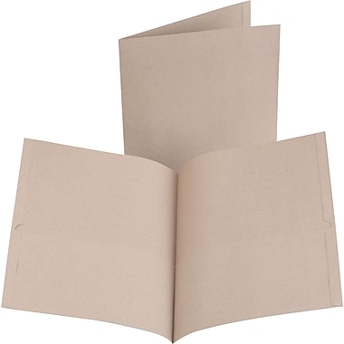 Earthwise® by Oxford® 100% Recycled Twin Pocket Folders, Letter Size, Natural, 10/Pack