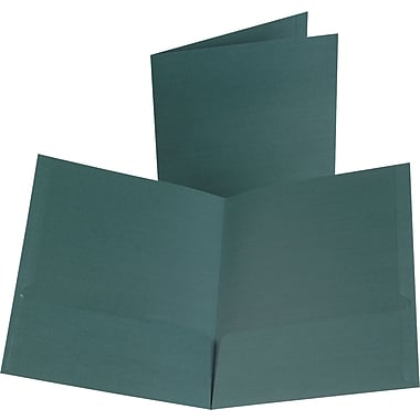 Oxford Linen 2-Pocket Folders, Hunter Green, 25/Box