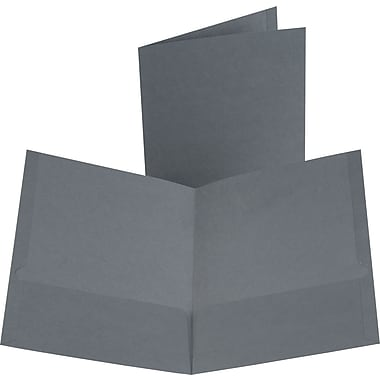 Oxford Linen 2-Pocket Folders, Dark Gray, 25/Box