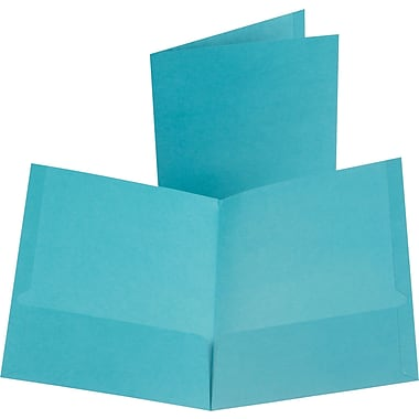 Oxford Linen 2-Pocket Folders, Teal, 25/Box