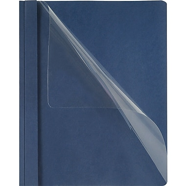 Staples® Deluxe Clear-Front Report Covers, Dark Blue