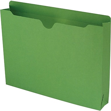 Smead® Colored File Jackets with Reinforced Tab, Letter, Green, 2in. Expansion, 50/Box
