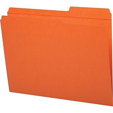 Staples® Guide-Height Colored Reinforced File Folders, Letter, Orange, 100/Box