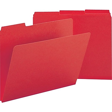 Smead® Colored Pressboard File Folders, 3 Tab, Letter, Bright Red, 25/Box