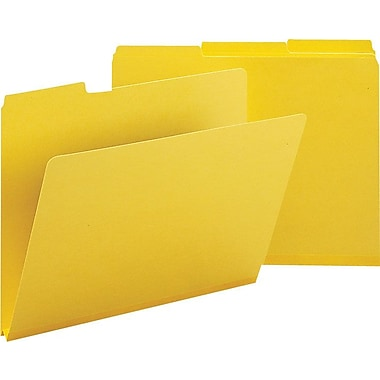 Smead® Colored Pressboard File Folders, 3 Tab, Letter, Yellow, 25/Box