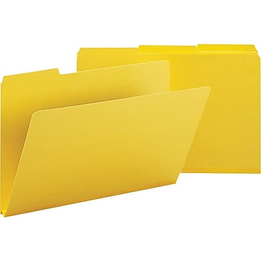 Smead® Colored Pressboard File Folders, 3 Tab, Legal, Yellow, 25/Box