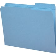 Staples® Guide-Height Colored Reinforced File Folders, Letter, Blue, 100/Box