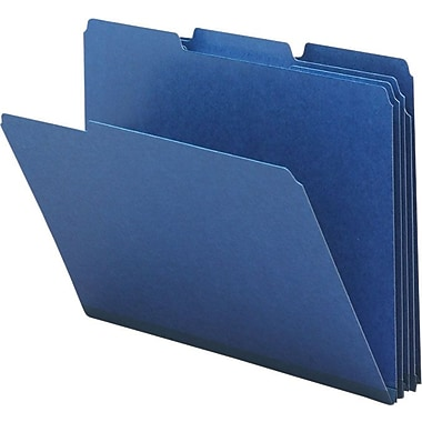 Smead® Colored Pressboard File Folders, 3 Tab, Letter, Dark Blue, 25/Box