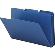 Smead® Colored Pressboard File Folders, 3 Tab, Legal, Dark Blue, 25/Box