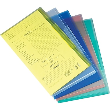 Staples® Poly Project Jackets, Legal, Assorted Transparent, 5/Pack
