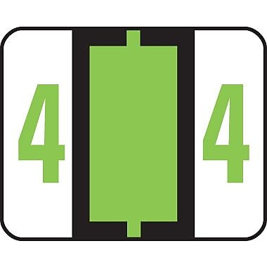 Smead® End-Tab Bar Style Numeric Color-Coded Labels, 4-Light Green