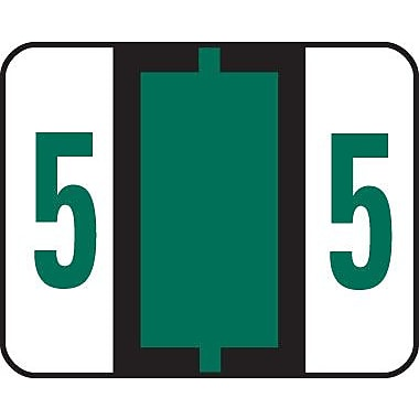 Smead® End-Tab Bar Style Numeric Color-Coded Labels, 5-Dark Green