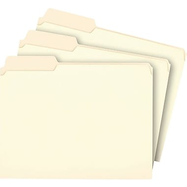Staples® Manila File Folders, Letter, 3 Tab, Left Position, 100/Box
