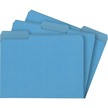 Staples® Colored File Folders, Letter, 3 Tab, Blue, 100/Box