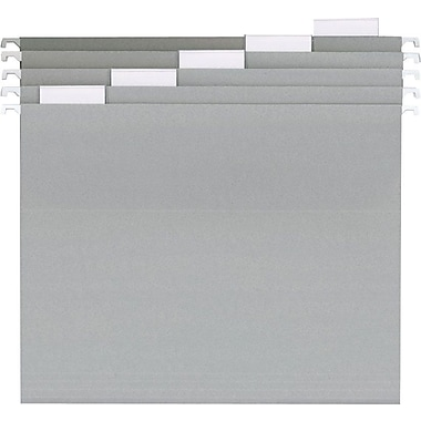 Staples® Colored Hanging File Folders, 5-Tab, Letter, Gray, 25/Box (435024)