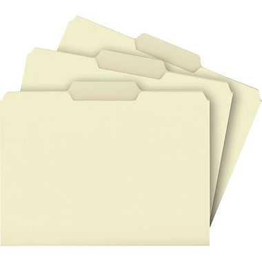 Staples® Top Tab Manila File Folders, 3 Tab, 100/Box