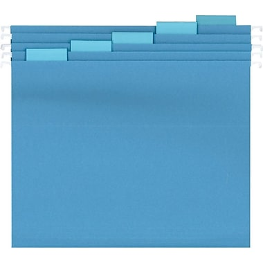 Staples® Colored Reinforced Hanging File Folders, Letter, 5 Tab, Blue, 25/Box
