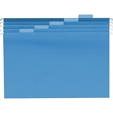 Staples® Colored Hanging File Folders, Legal, 5 Tab, Blue, 25/Box