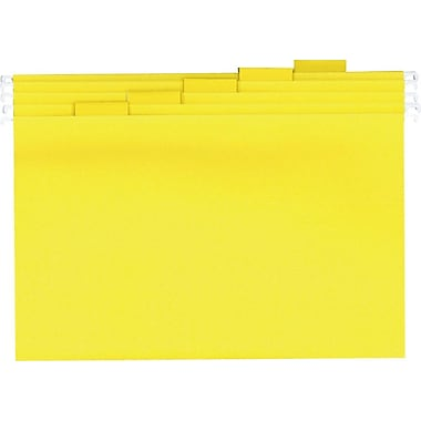 Staples® Colored Reinforced Hanging File Folders, Letter, 5 Tab, Yellow, 25/Box