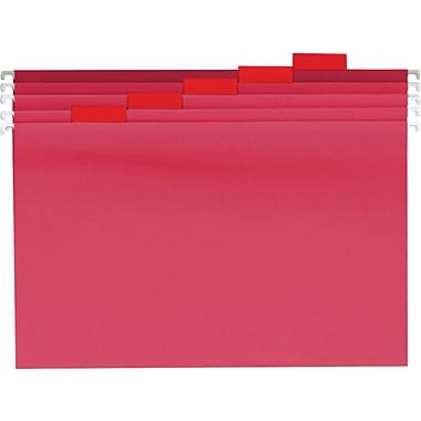 Staples® Colored Reinforced Hanging File Folders, Letter, 5 Tab, Red, 25/Box