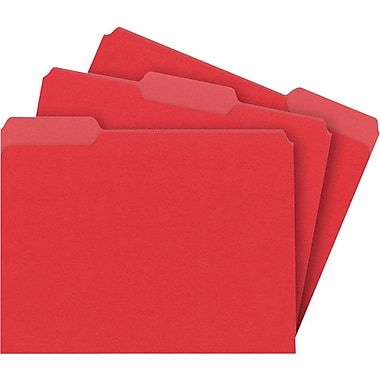 Staples® Colored File Folders, Letter, 3 Tab, Red, 100/Box