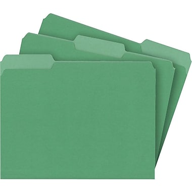 Staples® Colored File Folders, Letter, 3 Tab, Green, 100/Box