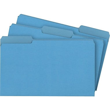 Staples® Colored File Folders, Legal, 3 Tab, Blue, 100/Box