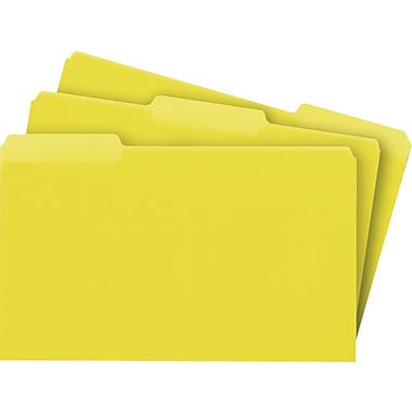 Staples® Colored File Folders, Legal, 3 Tab, Yellow, 100/Box