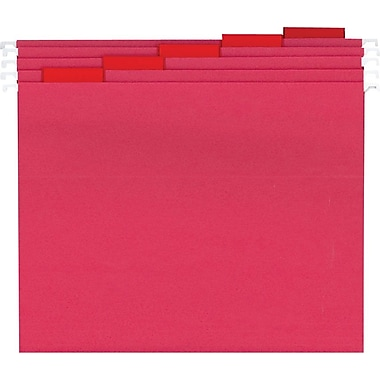 Staples® Colored Hanging File Folders, Letter, 5 Tab, Red, 25/Box