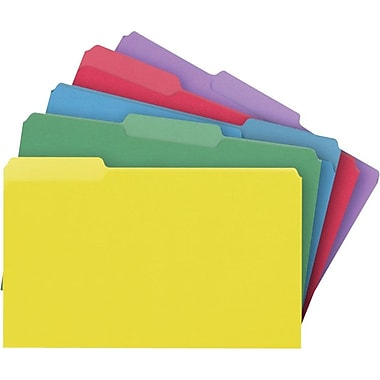 Staples® Colored File Folders, Legal, 3 Tab, Assortment D, 100/Box