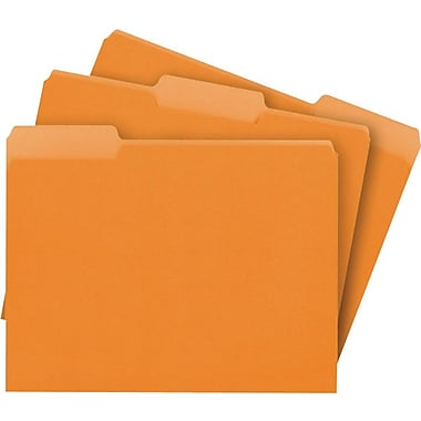 Staples® Colored File Folders, Letter, 3 Tab, Orange, 100/Box