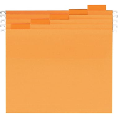 Staples® Colored Hanging File Folders, Letter, 5 Tab, Orange, 25/Box