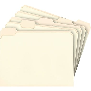 Staples® Manila File Folders, Letter, 5 Tab, Assorted Position, 100/Box