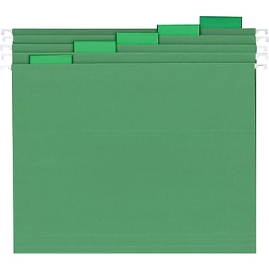 Staples® Colored Hanging File Folders, Letter, 5 Tab, Green, 25/Box