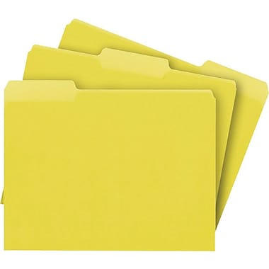 Staples® Colored File Folders, Letter, 3 Tab, Yellow, 100/Box
