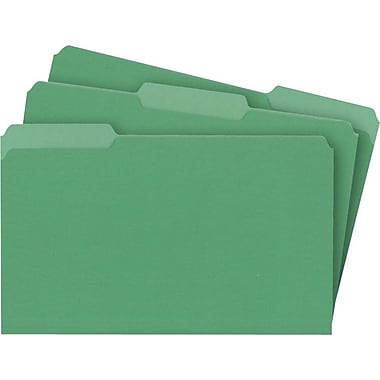 Staples® Colored File Folders, Legal, 3 Tab, Green, 100/Box