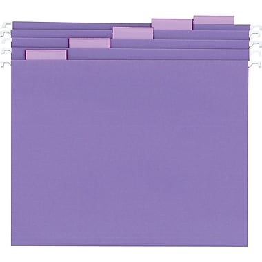 Staples® Colored Hanging File Folders, Letter, 5 Tab, Purple, 25/Box