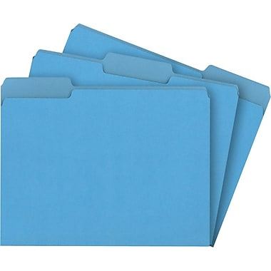 Staples® Interior File Folders, Letter, Blue, 100/Box