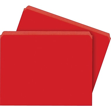 Staples® Colored File Folders, Letter, Single Tab, Red, 100/Box