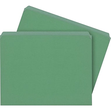 Staples® Colored File Folders, Letter, Single Tab, Green, 100/Box
