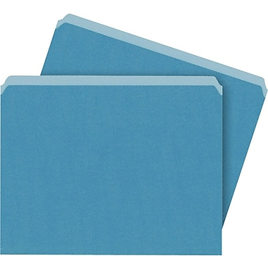 Staples Single Tab Colored File Folders Letter Blue 100/Box