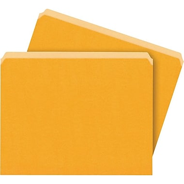 Staples Colored File Folders, Single Tab, Letter, Orange, 100/Box
