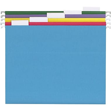 Staples® Colored Hanging File Folders, Letter, 5 Tab, Assorted, 25/Box
