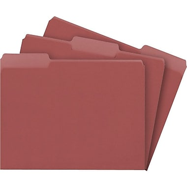 Staples Colored File Folders, 3 Tab, Letter, Maroon, 100/Box