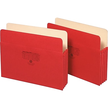 Staples® Colored File Pockets, 3 1/2in. Expansion, Letter, Red, Each