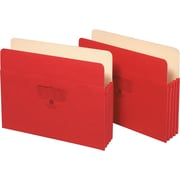 Staples® Colored File Pockets, 3 1/2 Expansion, Letter, Red, Each