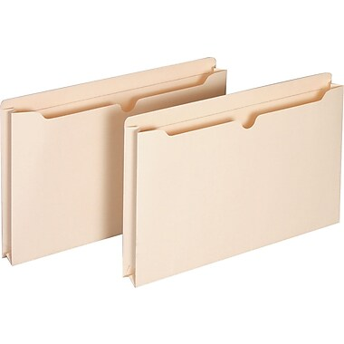 Staples® Manila File Jackets with Reinforced Tab, Legal, 1 1/2